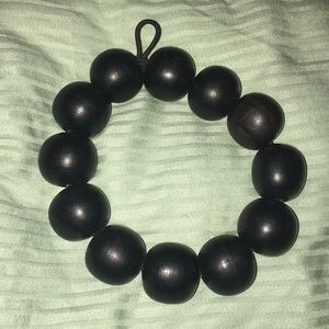 Minimalist Lrg Black Wooden Beads Elastic Bracelet